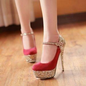 unknown Shoes - Red Glitter Platform High Heel Ankle Stiletto 3366